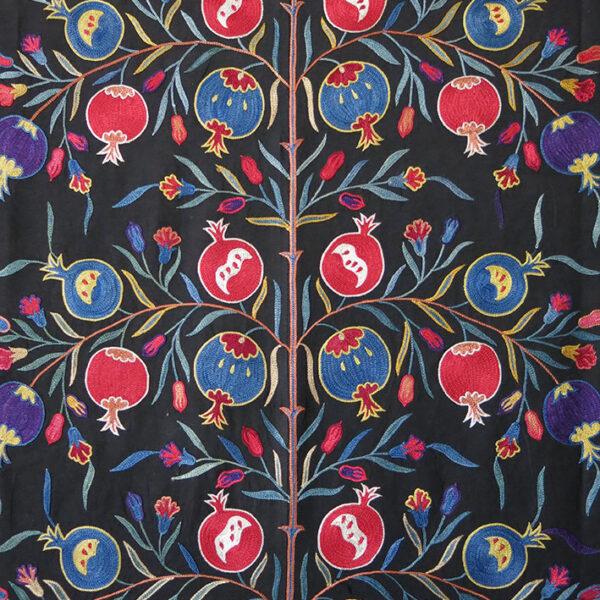 UZBEKISTAN FARGAN VALLEY silk embroidery pomegranates design Suzani