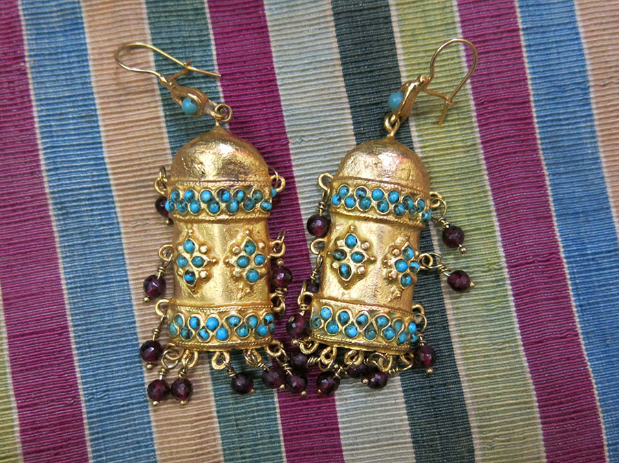UZBEKISTAN KHOREZM KHIVA ethnic bronze earrings