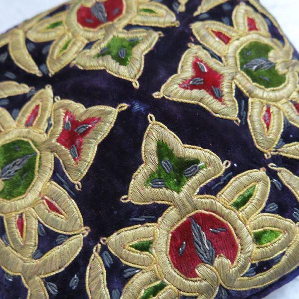 UZBEKISTAN – BOKHARA Tribal metallic embroidery square velvet hat