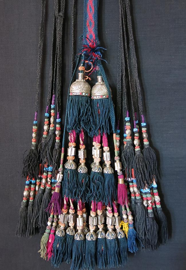 UZBEKISTAN – SURKHANDARYA, tribal silk braided and glass beaded combination of tassels