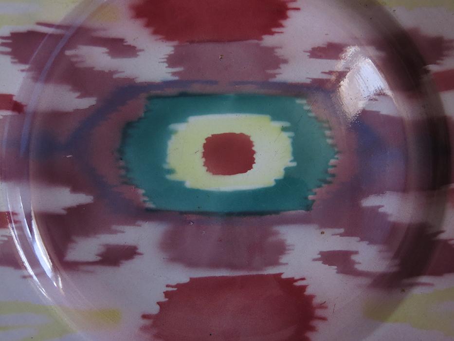 Uzbekistan - M.S.Kuznetsov glazed ceramic ikat design plate