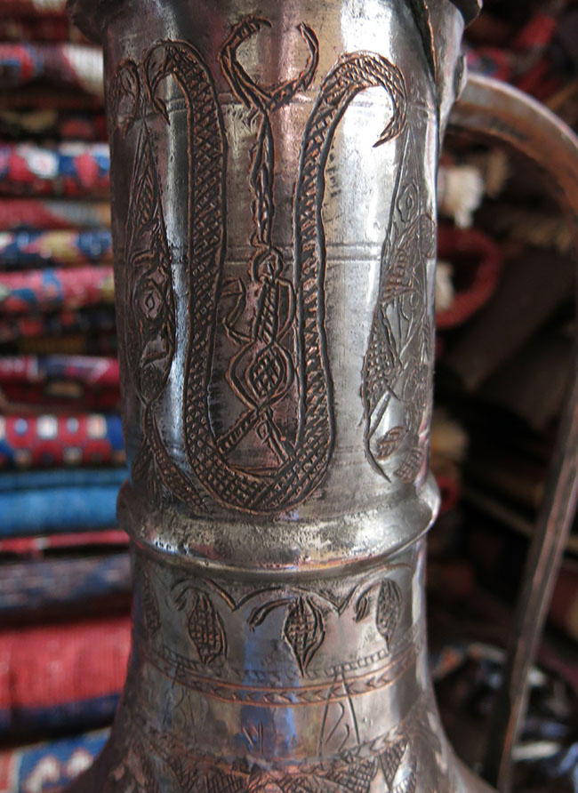 EAST CAUCASUS - DAGESTAN - hand forged and chiseled copper WATER PITCHER