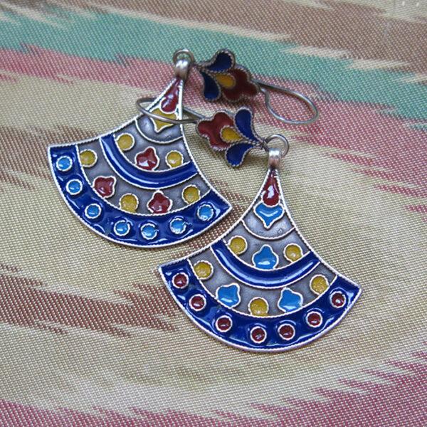 AFGHANISTAN – TURKMEN ethnic silver enameled earrings