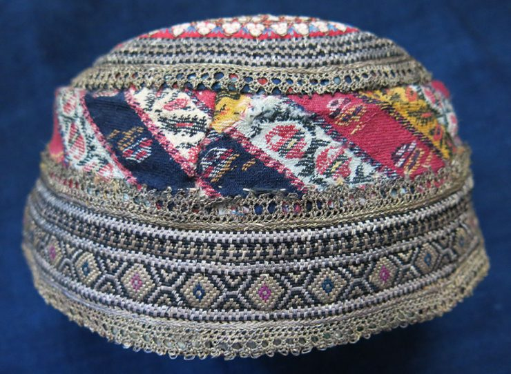 AZERBAIJAN ethnic silk metal threads embroidery ceremonial hat