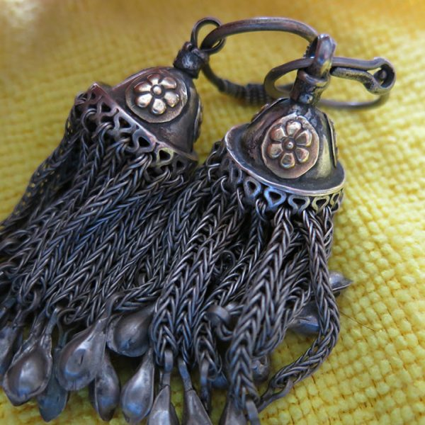 AFGHANISTAN TURKMEN Silver pair of costume earrings