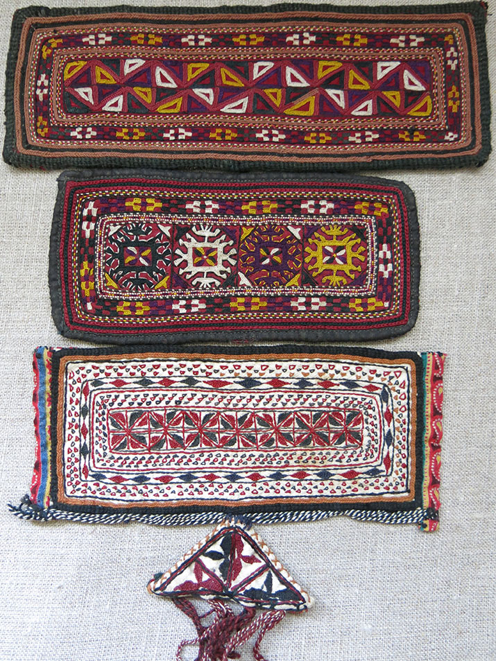 CENTRAL ASIA - TEKKE Turkmen silk embroidery Costume trappings