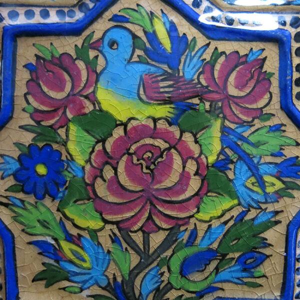 PERSIA QAJAR style glazed square ceramic tile