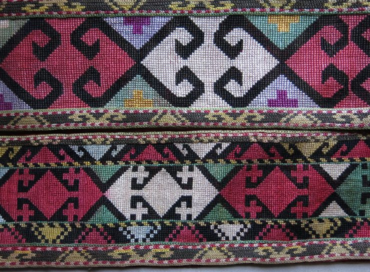 NORTH AFGHANISTAN LAKAI silk embroidery long band