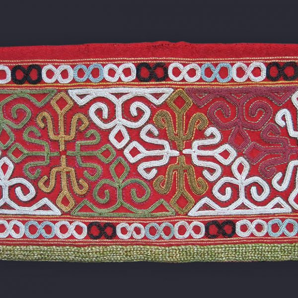 TURKMEN CHODOR SILK EMBROIDERY CHAPAN FRAGMENT