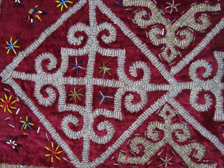 KAZAKHSTAN - Ethnic glass beaded yurt - wall hanging