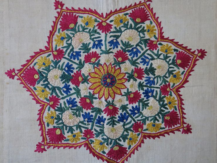 INDIA - SINDHI Silk embroidery Odhani fragment