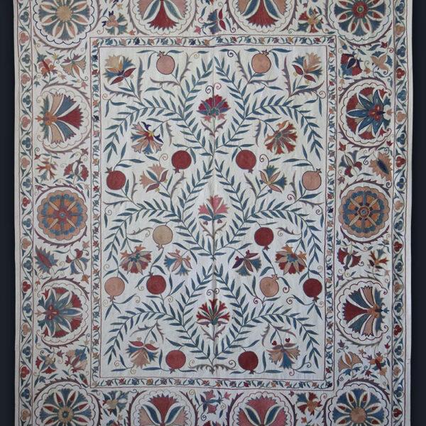 UZBEKISTAN – FARGANA VALLEY Silk fine embroidered Suzani