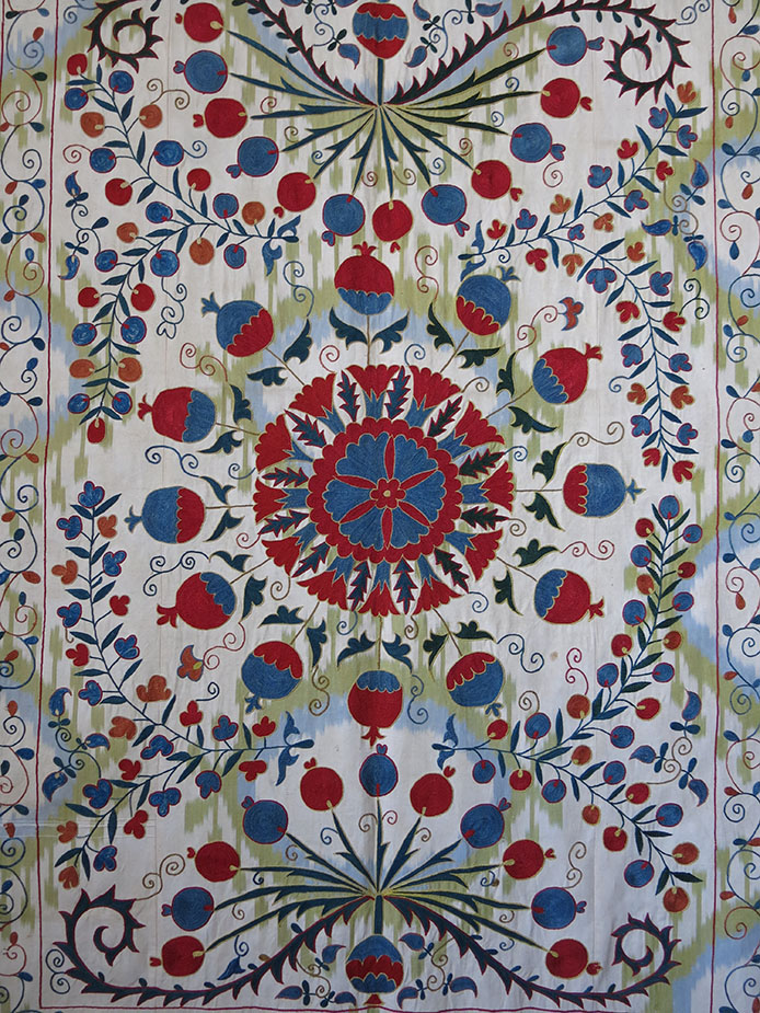 UZBEKISTAN FARGANA VALLEY silk SUZANI on Adras designed ikat