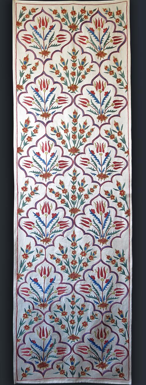 UZBEKISTAN – FARGANA VALLEY Silk fine embroidered Suzani table runner