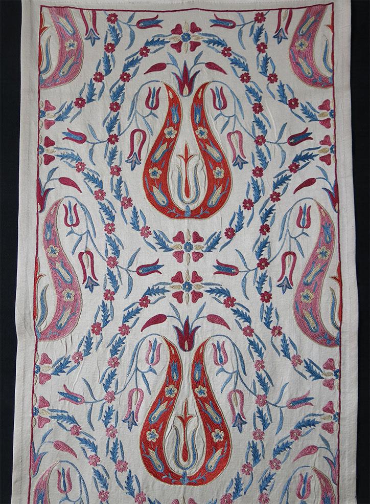 UZBEKISTAN – FARGANA VALLEY Silk fine embroidered Suzani table runner/ hanging