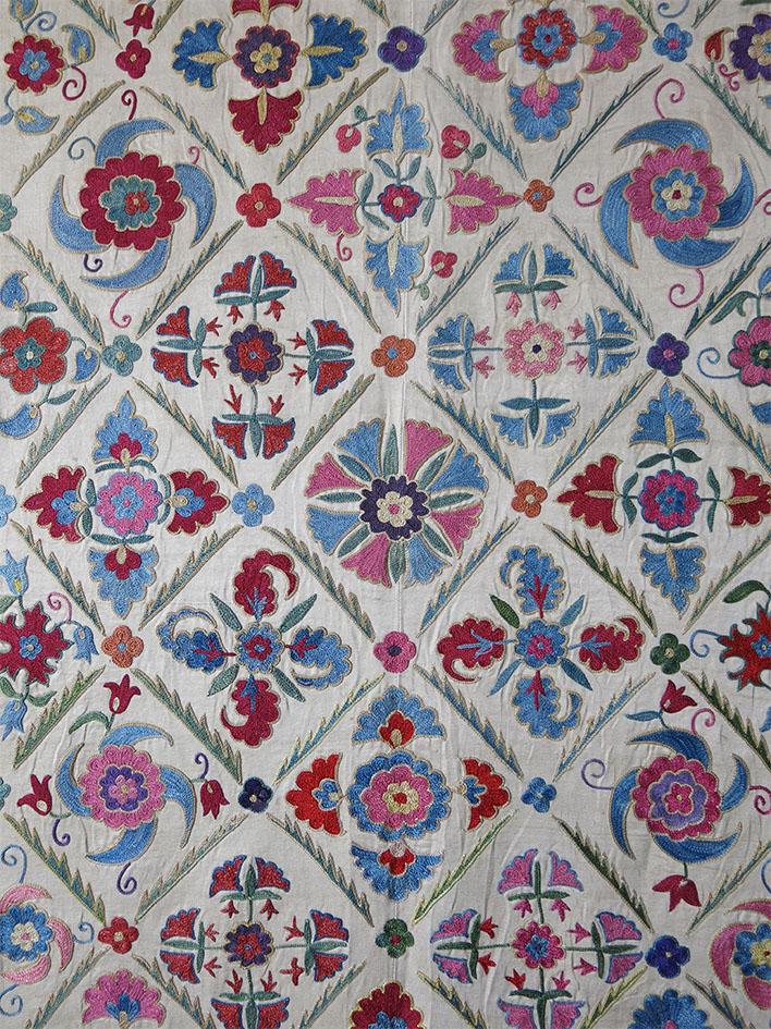 UZBEKISTAN – FARGANA VALLEY Silk embroidered Suzani