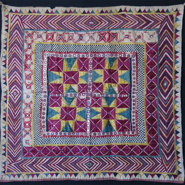 INDIA – GUJARAT – Antique silk embroidery Chalka hanging