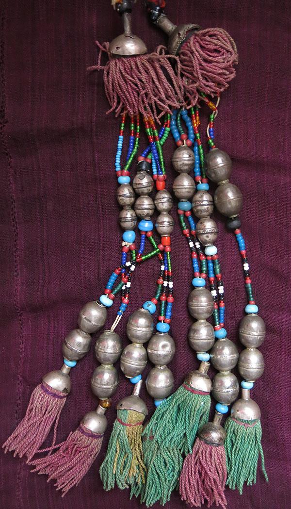 AFGHANISTAN – TURKMEN pair of beaded silver and silk tassels