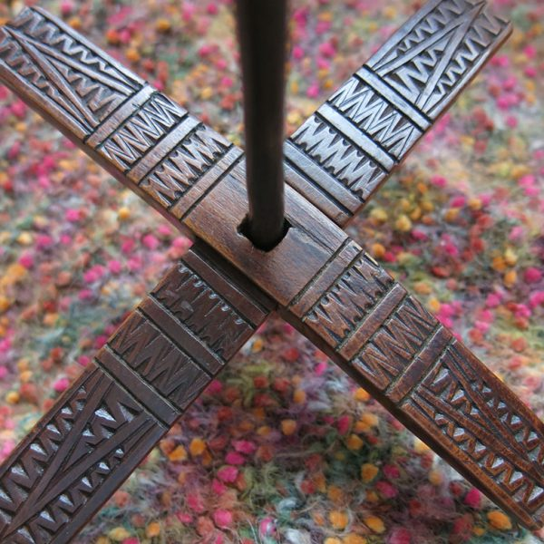 ANATOLIAN KARAPINAR Turkmen antique wooden hand carved drop spindle