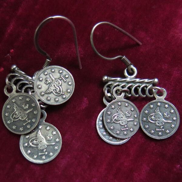 TURKEY - ISTANBUL Ottoman coins silver earrings