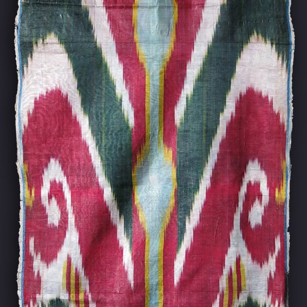 UZBEKISTAN BOKHARA Silk Adras ikat fragment