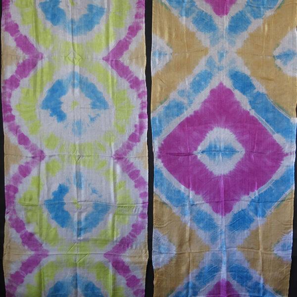 UZBEKISTAN – TASHKENT pair of PLANGI tie-dye and hand painted silk textiles