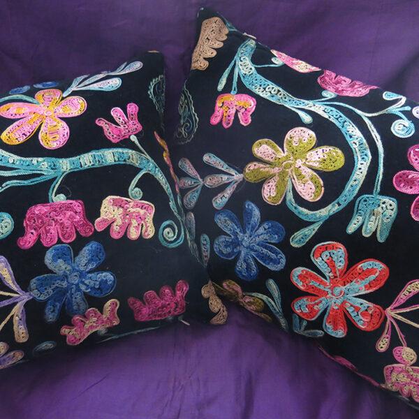 UZBEKISTAN Punch needle silk embroidery / Bakhmal - Velvet pillow covers
