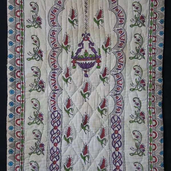 TURKEY TOKAT hand block printed, painted and quilted prayer hanging